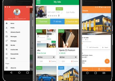 تصميم برنامج موقع سوق تسوق تسويق اعلانات مبوبة - تطبيق جوال نسخة من الموقع